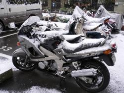 ZZR400も雪化粧